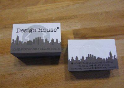 Επαγγελματικές κάρτες σε χαρτί 350gr Velvet, ματ πλαστικοποίηση, γκοφρέ & τοπικό UV