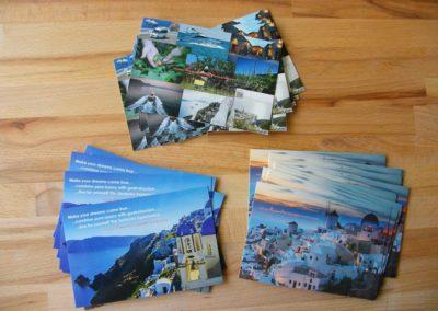 Εκτύπωση card postal, χαρτί Bindacote με ολικό UV στην πλευρά της φωτογραφίας.