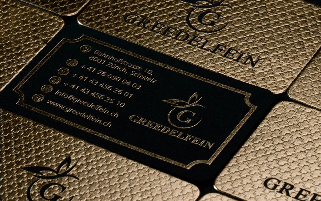 Κάρτα με χρυσοτυπία, letterpress και στρογγυλεμένες γωνίες