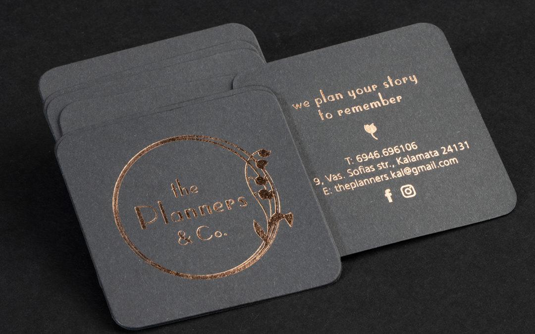 Λαμιναριστή κάρτα με ροζ-χρυσή θερμοτυπία και στρογγυλεμένες γωνίες