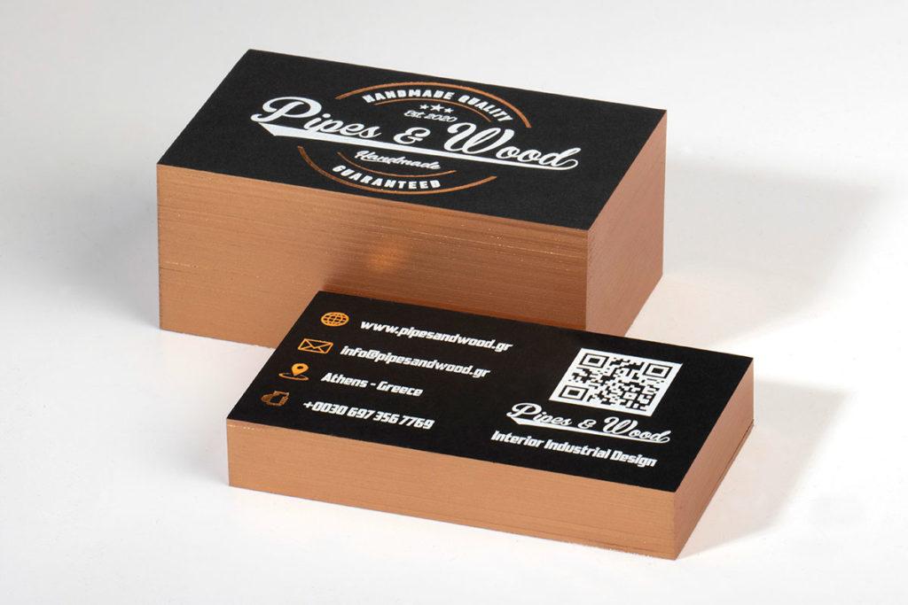 Επαγγελματικές κάρτες πολυτελείας σε ειδικό χαρτί με περιμετρική βαφή.